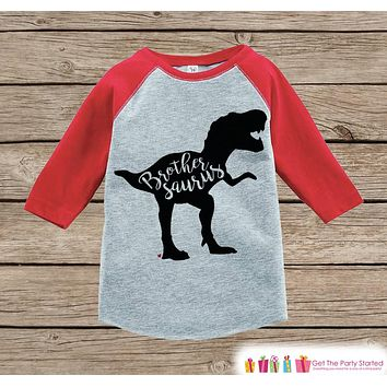Toddler Dinosaur Shirt - Sibling Shirts, Brother, Sister - Kids Red Raglan Shirt - Kids Baseball Tee - Kids Dinosaur Shirt - Toddler, Youth