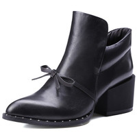 Womens Black 100% Genuine Leather Bow Ankle Boots Size 4-12