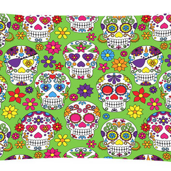 Day of the Dead Green Canvas Fabric Decorative Pillow BB5117PW1216