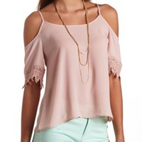 Crochet Trim Cold Shoulder Swing Top by Charlotte Russe - Dusty Rose