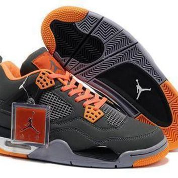 Cheap Air Jordans 4 Retro Men Gray Orange White Shoes