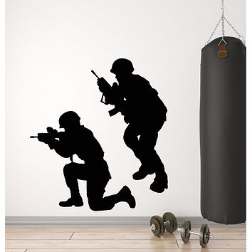 Vinyl Wall Decal Military War Soldiers Weapons Men Army Stickers Mural (g366)