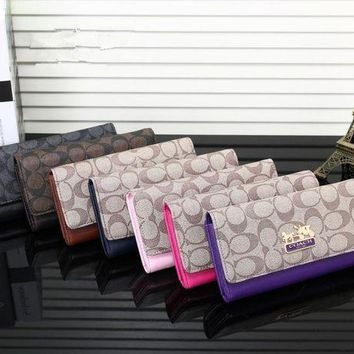 DCCKVQ8 Coach' Temperament Fashion Multicolor Print Long Section Multi-card Bit Button Three Fold Wallet Women Clutch Purse