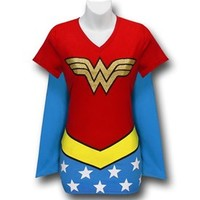 Wonder Woman Women's V-Neck Caped Costume T-Shirt