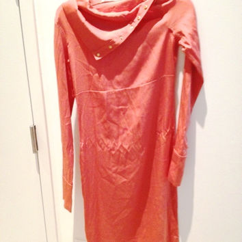 Diane Von Furstenberg (Dvf) Mango/Peach Asymmetrical Button Snap Long Sleeve Midi Dress