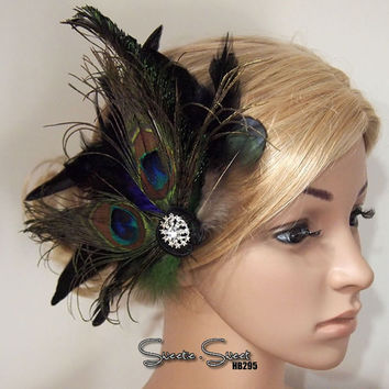 1920s Headpiece, Flapper Comb, Gatsby Headpiece, Feather Comb, Bridal Comb, Race Fascinator, Flapper Headpiece, Bridal Headpiece, Goth Comb