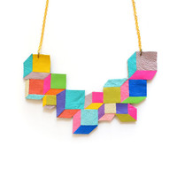 Neon Bib Necklace Faceted Cube Leather Jewelry by BooandBooFactory