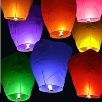 Sky Lanterns 60001ASST-20PK Chinese Sky Fly Fire Lanterns Wish Party Wedding Birthday, Multi Color