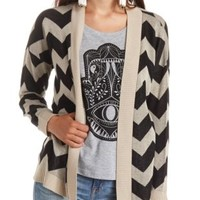 Open Front Chevron Cardigan Sweater by Charlotte Russe - Black Combo