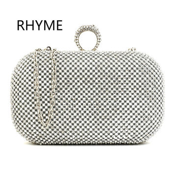 RHYME Diamond Studded Women Evening Bag Mini PartyWallet Dress Purse Ladies Rhinestone Banquet Handbag Clutch Female 3 Color