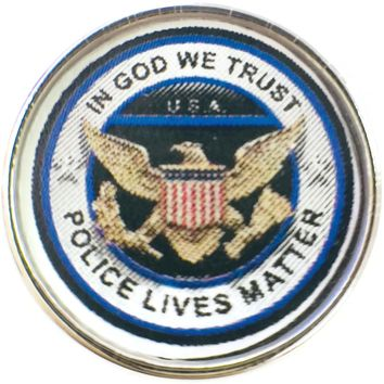 Thin Blue Line In God We Trust Police Lives Matter 18MM - 20MM Snap Charm New Item