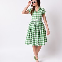 Bernie Dexter 1950s Green Gingham Kelly Cap Sleeve Swing Dress | Unique Vintage