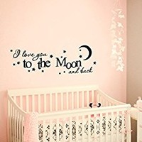 Wall Decal Vinyl Sticker Decals Art Decor Design I love you to the moon and back Baby room Love Stars Bedroom Nursery Kids Children (r1376)