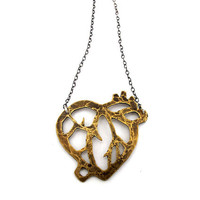Anatomical heart in brass