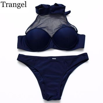 New High Neck Bikini Mesh Crop Top Hang Swimsuit Push Up Swimwear Women Cross Bathing suit