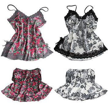 Women's Sexy Floral Lace Lingerie Nightwear Sleepwear Set