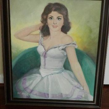 Signed oil painting portrait , Lajos Fuzesi, American-Hungarian listed artist