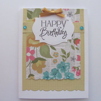 Happy Birthday Floral Card, Birthdays, Floral, Yellow