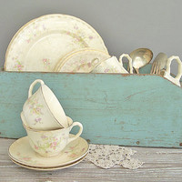 vintage wood box chippy blue paint by KatyBitsandPieces on Etsy
