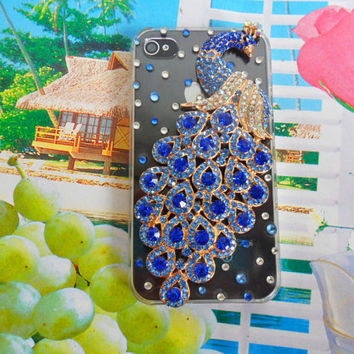 iPhone 4 4S hard Case cover with peacock and diamond for iPhone 4 case ,iPhone 4 S case,iPhone 4GS case,iPhone hand case cover    SJK-2301