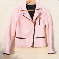 Leather Look Biker Jacket with Quilting in Baby Pink