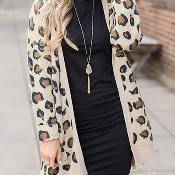 New Khaki Leopard Print Pockets Long Sleeve Casual Cardigan Sweater