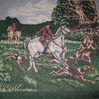 Fox Hunt Tapestry Panel, Fabric Decor 3 Pillow Panels, Equestrian Horse, English Hunt Scene Tapestry