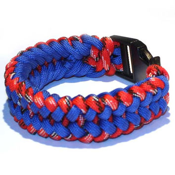 Men's Survival Bracelet - For him, gift ideas, paracord, man gift ideas, boy, teen, boyfriend, friend, brother, parachute, Red and Blue