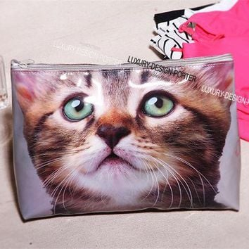 CREYU3C Designer Large Vivid Cat waterproof PVC Toiletry Bag Travel Organizer Cosmetic Bag