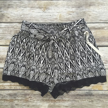 Tribal Lace Trim Tie Waist Shorts