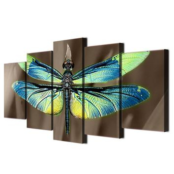 Colored dragonfly wings print - wall art on canvas picture