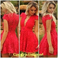 275585731e39 COWGIRL GYPSY DRESS Deep V Neck Lined Red Floral Lace Mini Dress