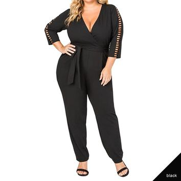Women Plus Size Jumpsuits Long Sleeve Deep V Neck Office Wear Black White Clothes Plus Size Romper Jumpsuit