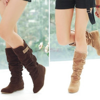 Women Fashion Autumn Winter Boots Lace Cuff Increased Internal Shoes = 1946485956