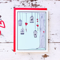 Funny Valentine Card for Boyfriend - Valentine's Day Card Handmade - Bird Cage