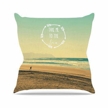 "Robin Dickinson ""Take Me To The Sea"" Teal Brown Outdoor Throw Pillow"
