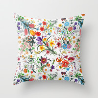 White Floral Print Throw Pillow by Lucy Helena