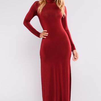 A Little Leg Maxi Dress - Wine