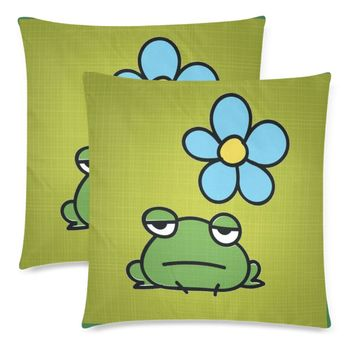 """Frog Throw Pillow Covers 18""""x 18"""" (Set of 2)"""