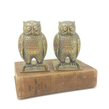 Vintage Brass Owl Bookends, Ornate Detailed Brass, Scroll Design, Home Office Decor, Mid Century