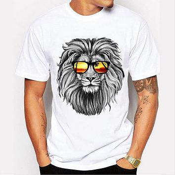 Men's personality cool lion T-Shirt Men O-neck Shirts Casual Slim Design