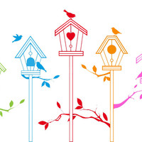 Colorful Bird Houses Cross Stitch Pattern | Los Angeles Needlework