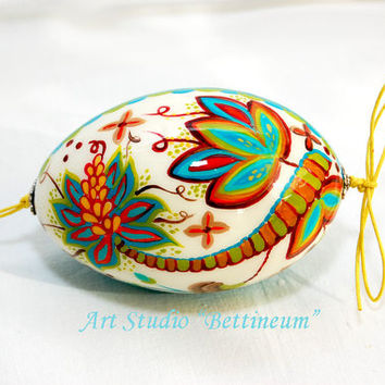 "Pysanka  with ""Embroidered Flowers"" Polish easter eggs,hand made goose egg."
