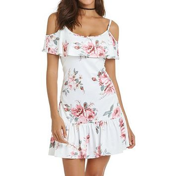 Women Cold Shoulder Floral Mini Dress Spaghetti Strap Beach