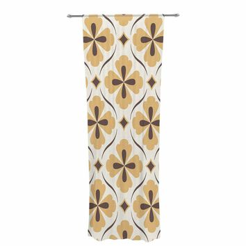 "Amanda Lane ""Bohemian Quatrefoil"" Yellow Illustration Ethnic Decorative Sheer Curtain"