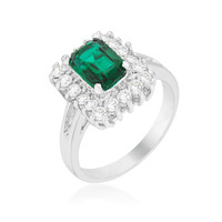 Papina Emerald Green Vintage Inspired Halo Cocktail Ring  | 3ct | Cubic Zirconia | Silver
