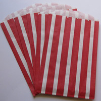 "Set of 20 Red and White Vertical Stripe Design Middy Bitty Bags (5"" x 7.5"")"