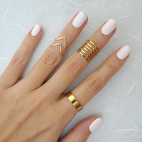Set of 12 knuckle rings, Stacking rings, Band knuckle ring, Gold knuckle ring, Fashion mid ring, Dainty ring