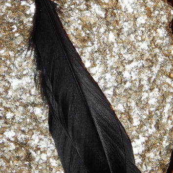 Black Duck Feather Trio - Wrapped and Beaded Feathers - Smudge Wand - Embellishment for Native or Pagan Crafts - Tribal Hair Feathers