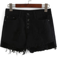 Black Ripped Buttons Fringed Denim Shorts